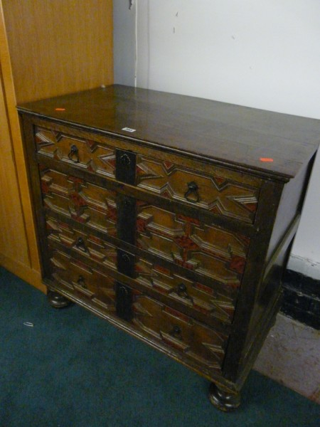Renaissance style oak chest of drawers - Sold for £340.00.