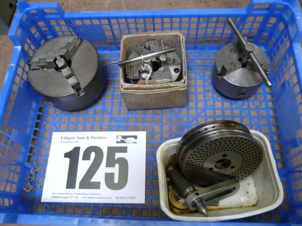 Tray of 3-Jaw Chucks & Box Indexing Plates Sold £115